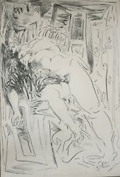 William Brice 1921 - 2008 Lithograph On Paper Reclining Nude Figure Signed