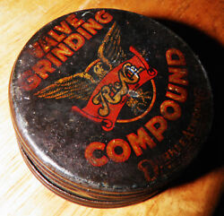 Antique Vtg Tin Durkee Atwood Rienie Valve Grinding Compound Gas Service Station