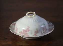 Antique Haviland Limoges Ch Field Pink Flowers Covered Butter Dish And Strainer