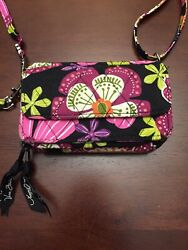 Vera Bradley All in One Crossbody Wallet Bag Detachable Strap Pirouette Pink $21.00