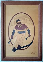 Hudson River Inlay Downhill Skier By Jeff Nelson Marquetry Used