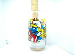 Vintage 1983 The Smurfs Smurfette Glass Drinking Cup Peyo Wallace Berrie