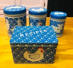 Vintage Farm House Tin Canisters Stacking And Recipe Box