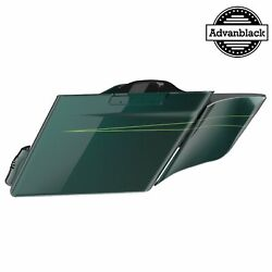 Deep Jade Pearl Extended Stretched Saddlebag Side Cover Pinstripes F/ Harley 14+