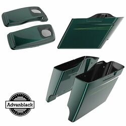 Deep Jade Pearl Extended Saddlebag Pinstripes 6x9and039and039 Speaker Lids For Harley 14+