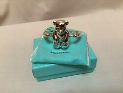 And Co Sterling Silver Teddy Bear Baby Rattle