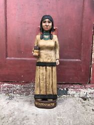 John Gallagher 6 Ft Carved Wooden Maiden Cigar Store Indian Statue