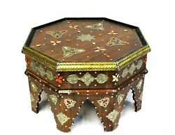 Moroccan Coffee Table Center Piece Brown Gold Authentic Home Decor Glass Top