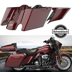 Mysterious Red Sunglo Extended Bags Stretched Saddlebag Pinstripes F/ 14+ Harley