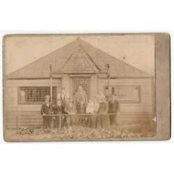 Cabinet Card Photograph Family Outside Building/clubhouse By Gibbon Rutherglen