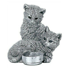 Comyns Sterling Silver Kittens With Robin - 7 Cm Filled Figurine