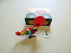 Vintage Tin Litho Wind Up Rooster Toy Made In Belarus Vintage 4 W/box Toy Lot