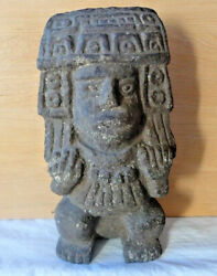Pre-columbian Effigy Artifact Central America Clay Pottery Ornate Design