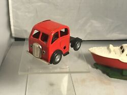 Vintage Triang Minic Tinplate Clockwork 114m Articulated Lorry  Boat And Trailer