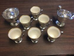 Vintage And Co Sterling Demitasse Cups With Lenox Porcelain Inserts