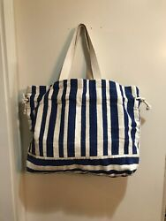 Free People Beach Striped Tote Bag Blue And White NWOT ON SALE $29.00