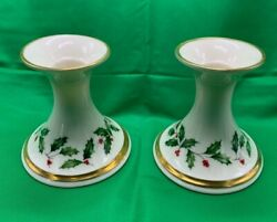 Set of 2 Pair LENOX HOLIDAY 3 3 4quot; tall Candlestick Holders Gold Trim USA