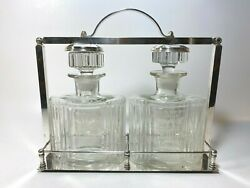 Vintage Locking Decanter Set Tantalus Scotch And Rye For Display In Bar Or Saloon