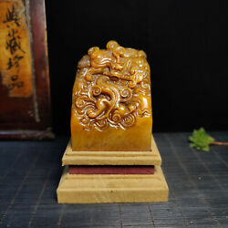 3.2and039and039 China Antique Animal Seal Old Shoushan Stone Seal Stamp Beast Dragon