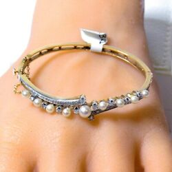 Antique Gold Bangle With Diamonds And Cultured Pearls Set In Yellow Gold