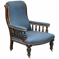 Lovely Early Victorian Mahognay Library Reading Armchair Regency Blue Upholstery