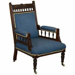 Early Victorian Carved Mahognay Library Reading Armchair Regency Blue Upholstery