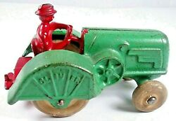 Hubley - Orchard Tractor W/driver - All Original - Cast Iron - Bright Paint