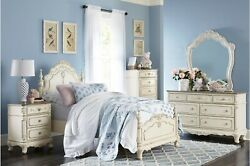 Dreamy Antique White 4 Pc Twin Bed N/s Dresser Mirror Bedroom Furniture Set