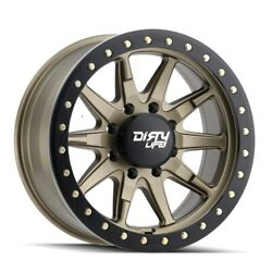 Dirty Life 9304 Dt-2 Bl 17x9 5x127 Et-38 Satin Gold/simulated Bl Ring Qty Of 4