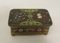 19th C. French Champleve Enamel On Bronze Footed Trinket Box 2