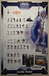 Star Wars Miniatures The Clone Wars Checklist/map Promo Poster New