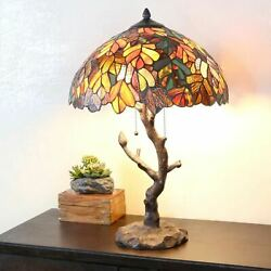 Style Table Lamp Tree Reading Desk Accent Stained Glass Lamp 25 High