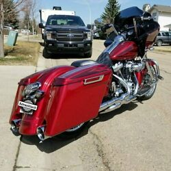 Hard Candy Hot Rod Red Flake Extended Bags Stretched Saddlebag For Harley 2014+