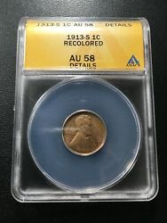 1913 S Wheat Cent Anacs Au-58 Det - Better Date Wheat Penny - Certified Slab -1c