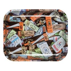 Zig Zag Metal Rolling Tray 13 x 11 Large Mix Papers Zig Zag Rolling Tray