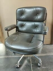Vintage Brown Leather Eames Herman Miller Time Life Executive Chair