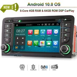 7android 10.0 Car Radio Dvd Stereo Bt Wifi Dab+gps Sat Navi For Audi A3 Rs3 S3