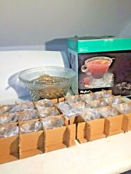 Anchor Hocking Glass Clear Wexford Punch Bowl Cups Hooks Ladle 39 Piece Setvtg