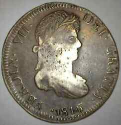 Zacatecas Mexico Eight 8 Reales 1816 A.g. Silver Coin Crude Style Scarce Date