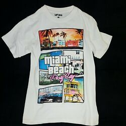 READ Miami beach Small T Shirt GTA Vice Party City White Parody Florida PS2 $14.99