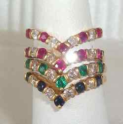 Vintage Set 4 Rings Solid 14k Y Gold And 2.20ct Diamond Ruby Emerald Sapphire