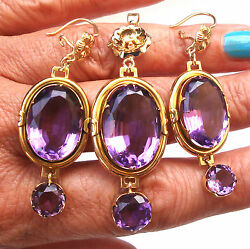 Antique Set Of 40ct Amethyst And 14k Gold Dangling Earrings And Pendant Fine Jewelry