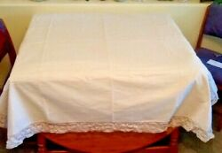 Two Vintage Fine Linen Tablecloths With Lace, 110x 62