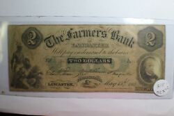 2 Farmers Green Two Bank Of Lancaster Pennsylvania 1862 Note