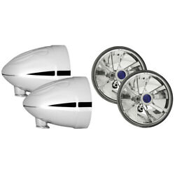 New 4 1/2 Flamed Motorcycle Spotlight Bucket Set With Pie Cut Blue Dot Lamps
