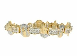 10k Or 14k Two Tone Gold Jesus And Praying Hands Bracelet With Cz Pave Links