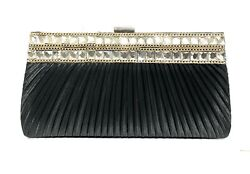 Black Evening Bag Clutch with Two Rows of Rhinestones Gold Chain accent $32.19