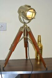 Handmade Antique Finish Table Top Lamp Spot Search Light Home And Office Decor