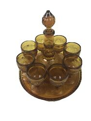 Tiara Indiana Glass Amber 11 Piece Wine Set Sandwich Tray Decanter And 8 Goblets