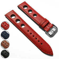 Rally Style - Perforated Racing - Italian Leather Watch Band Strap - Large Holes